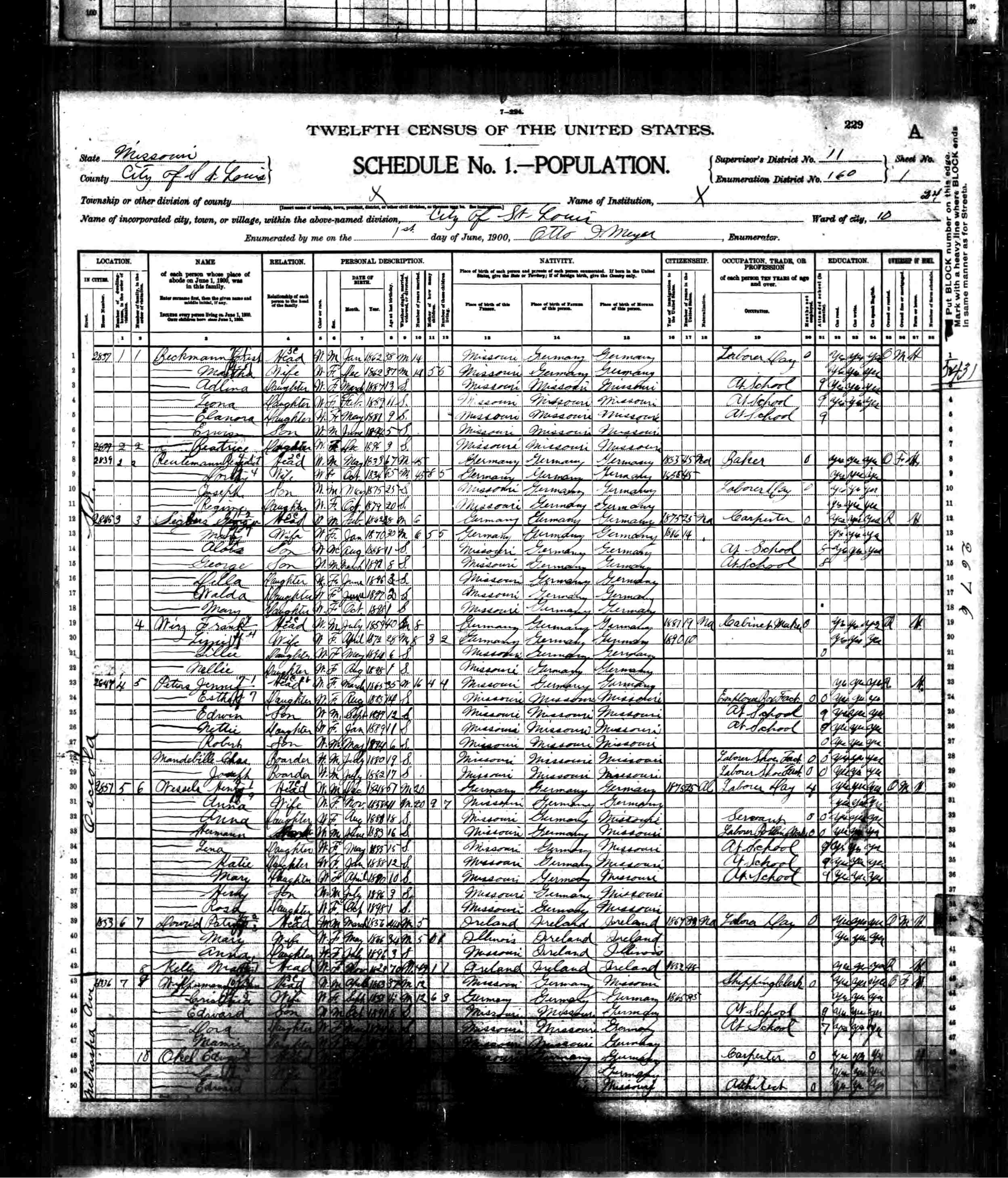 1900 census Peters ChasJoMandeville