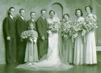 Wedding of Ruth Peters and Nick Kausch including Loretta (Peters) & Al Reiser, Delores (Gerlach)& Joe Lesneski, Claude Gerlach, and a young Kausch relative.  I don't know the 3rd bridesmaid.